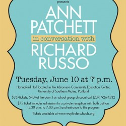 Bestselling author Ann Patchett will make her first public appearance in Maine on June 10 at USM