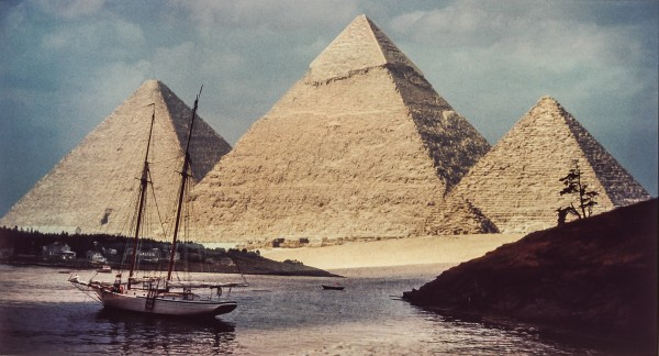 &quotPort Giza&quot combines images of a sail boat moored off Monhegan Island and the Egyptian pyramids in Giza.