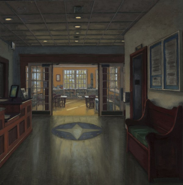 Alison Rector, &quotThe Children's Room,&quot Blue Hill Library, oil on linen, 20x20 inches