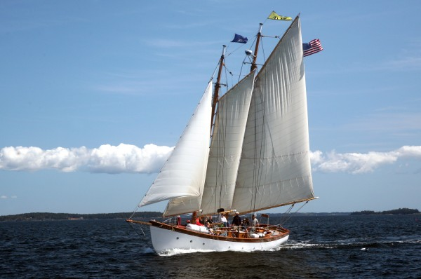 The Schooner Olad out sailing in Penobscot Bay off the coast of midcoast Maine.