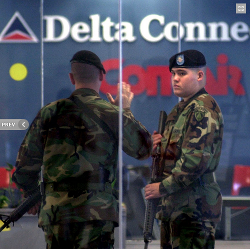 2001: The National Guard at the Bangor International Airport after the attack on September 11