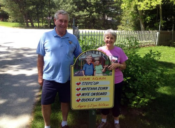 Don and Joyce Nelson, owners of Shady Oaks Campground in Orland, stand beside the exit of the campground.