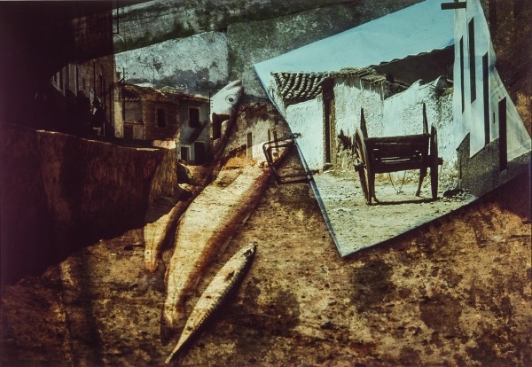 The photographic print entitled &quotSpanish Mackerel&quot melds images of a a Dartmouth, England fisherman's catch sitting on the pier with a street scene from La Mancha, Spain, creating an intriguing artistic collage.