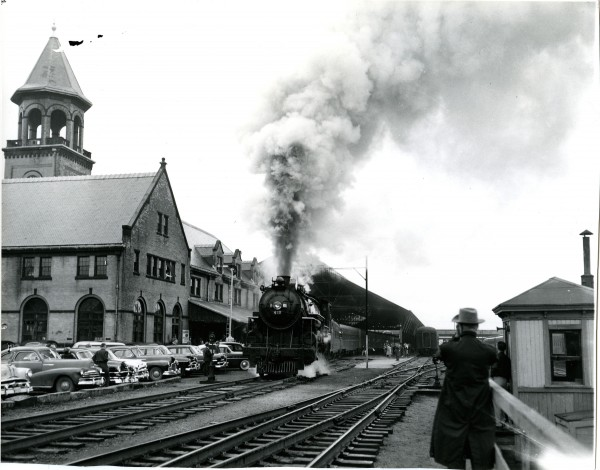 Engine 470 pulls a passenger train into the railroad station in Bangor in the 1940s. Efforts are being made by New England Steam Corp of Winterport to restore the engine for use. Work will be done at a restoration site in Ellsworth.