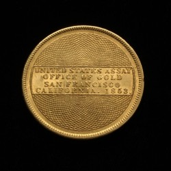 1853 US Assay Office $20.00 gold coin to be sold at Thomaston Place Auction Galleries on June 14.