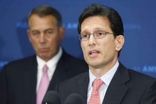U.S. House Majority Leader Eric Cantor and House Speaker John Boehner speak at a news conference after a Republican caucus meeting at the U.S. Capitol in Washington June 10, 2014.