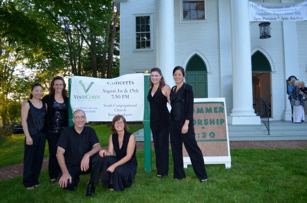 VentiCordi musicians in front of South Congregational Church, Kennebunkport