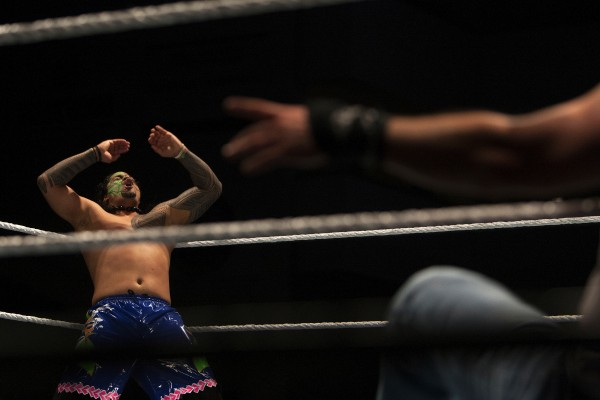 Jey Uso screams during WWE Live in Bangor Saturday at the Cross Insurance Center.