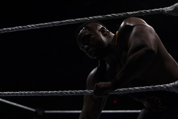 Big E tries to stand back up during WWE Live in Bangor Saturday at the Cross Insurance Center.