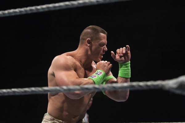 John Cena prepares to wrestle during WWE Live in Bangor Saturday at the Cross Insurance Center.