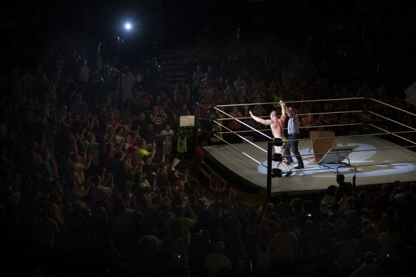 John Cena is declared the winner of his match during WWE Live in Bangor Saturday at the Cross Insurance Center.