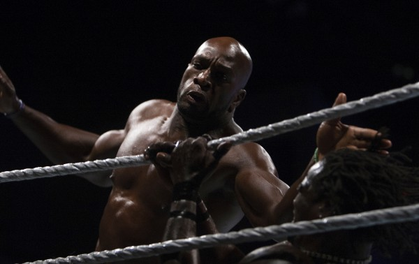 Titus O'Neil (left) attacks R-Truth as part of WWE Live in Bangor Saturday at the Cross Insurance Center.