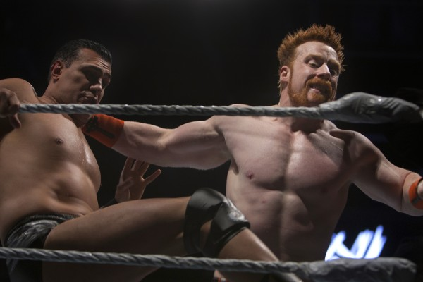 Sheamus (right) slams Alberto Del Rio into the ropes during WWE Live in Bangor Saturday at the Cross Insurance Center.