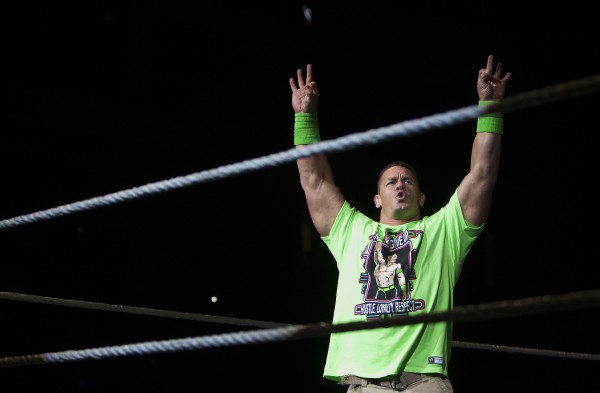 John Cena amps up the crowd during WWE Live in Bangor Saturday at the Cross Insurance Center.