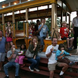 Families enjoying Ice Cream & Sunset Trolley Ride at Seashore Trolley Museum