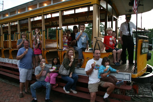 Families enjoying Seashore Trolley Museum's Ice Cream & Sunset Trolley Ride
