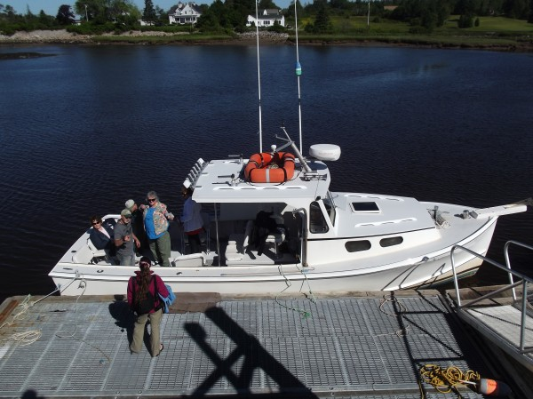 James Robertson of Harrington, captain of the Kandi Leigh, greets customers and welcomes them aboard his boat prior to taking them on a cruise leaving from the Milbridge marina to see puffins. Robertson is a fisherman and also operates a tour service.