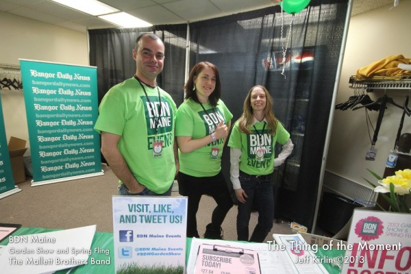 2013: Regional Manager Matthew Martin, Features Reporter Emily Burnham and Graphic Designer Bridgit Cayer at the BDN Maine Garden Show and Spring Fling