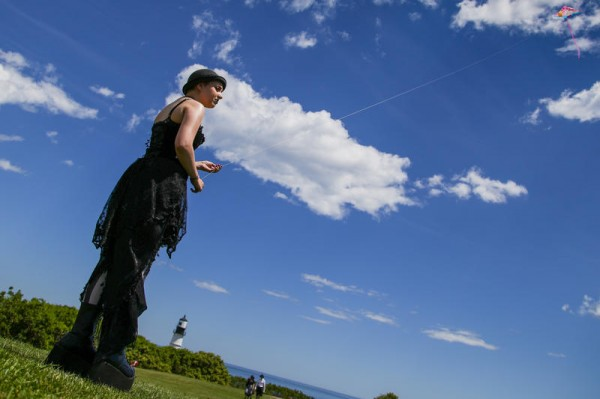 Jessica Defelice, of Kennebunk, tends to her kite June 7 during the 13th annual Goth Fly a Kite party at Fort Williams Park in Cape Elizabeth.