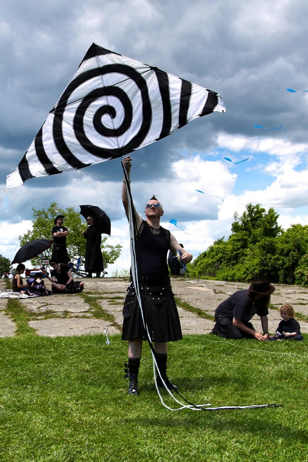 Josh Zech, of Litchfield, prepares to launch his kite June 7 during the 13th annual Goth Fly a Kite party at Fort Williams Park in Cape Elizabeth.