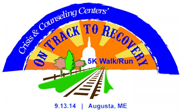 On Track to Recovery 5K Walk/Run event logo and T-shirt design