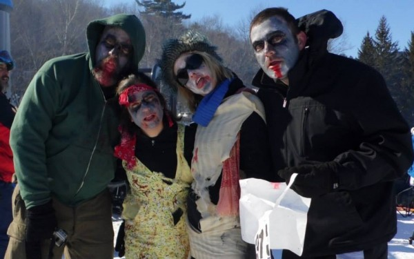 One of the BDN Maine teams at the 2013 Camden Snow Bowl Toboggan races.