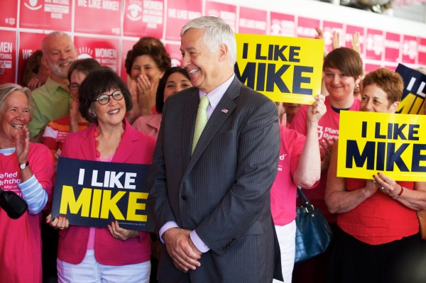 Democratic gubernatorial candidate Mike Michaud is all smiles while a crowd cheers as Planned Parenthood's Maine Action Fund endorses him for governor Monday in Portland.
