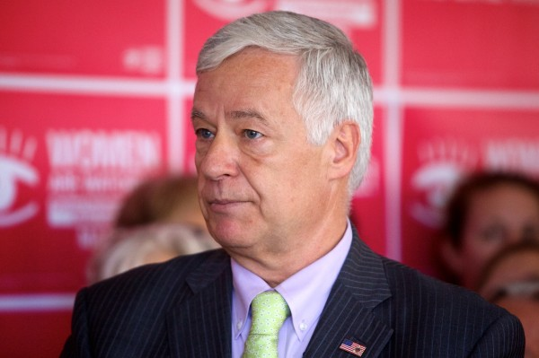 Democratic gubernatorial candidate Mike Michaud thanks Planned Parenthood's Maine Action Fund for their endorsement at an event in Portland on Monday.