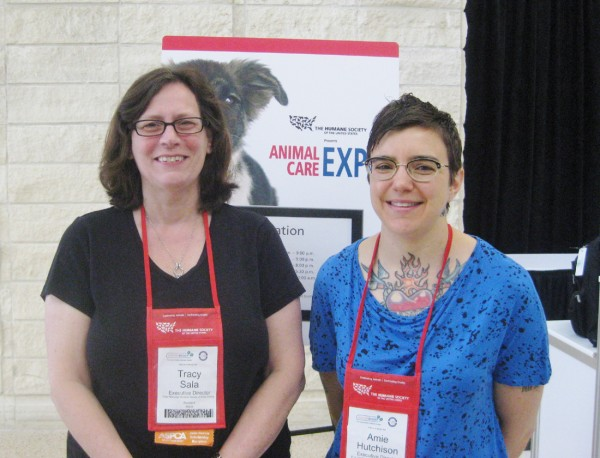 Tracy Sala and Amie Hutchison, Executive Directors of Pope Memorial Humane Society and P.A.W.S. Animal Adoption Center respectively, at the Humane Society of the United States' Animal Care Expo in Daytona Beach, FL.