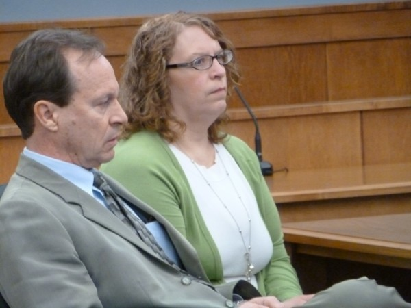 Wendy Farley, 48, of Brownville and her attorney Peter Rodway of Portland wait for her trial to begin at the Piscataquis County Courthouse in Dover-Foxcroft in March.