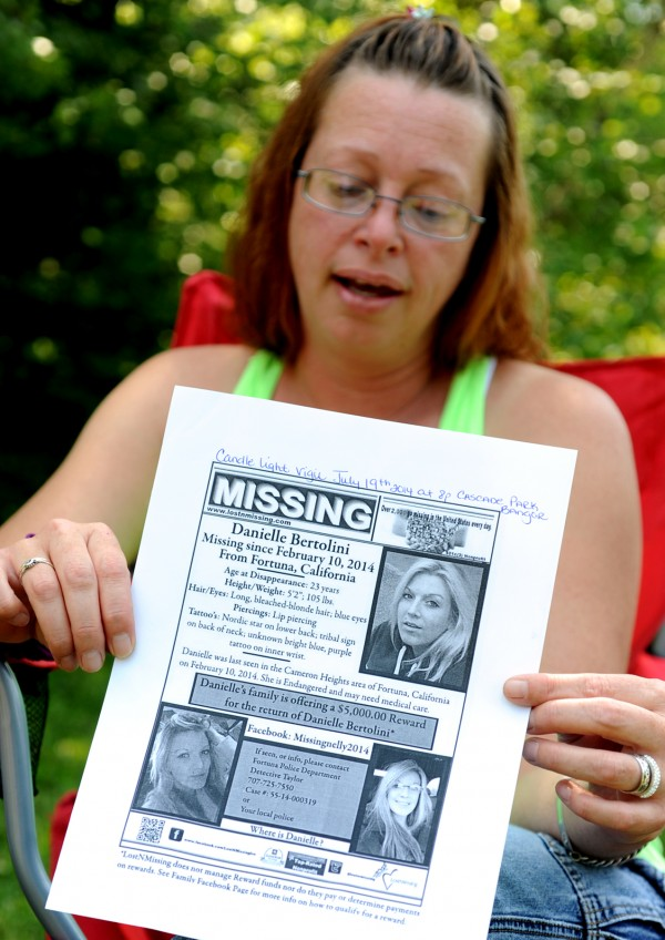 Billie-Jo Dick of Plymouth, mother of 23-year-old Danielle Bertolini who went missing in February, shows on June 30 a flier she made for her daughter.