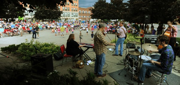 Members of the Marshall Ford Swing Band perform outside at Pickering Square in Bangor on Thursday, Aug. 23, 2012, as part of the annual Outdoor Market and Cool Sounds Free Concert Series.