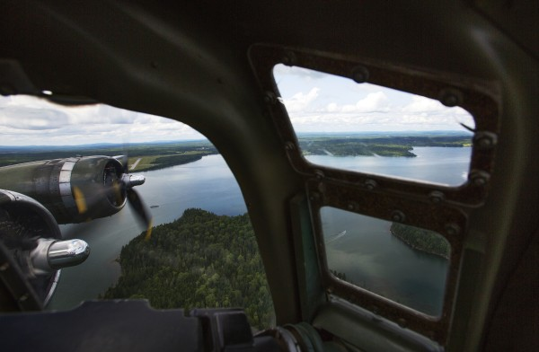 The Sentimental Journey, a fully restored B-17 Flying Fortress, flies over Bar Harbor Tuesday.