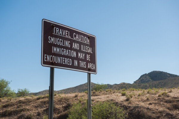 A sign in Coronado National Forest warns travelers about smuggling-related dangers in the area near the U.S.-Mexico border in this April 2014 file photo.