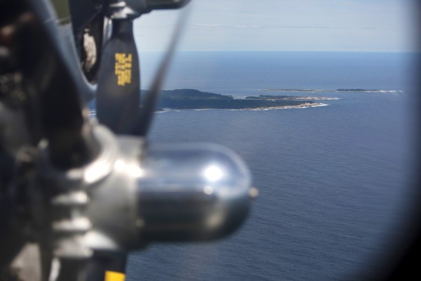 The Sentimental Journey, a fully restored B-17 Flying Fortress, flies over Bar Harbor Tuesday in Bar Harbor.