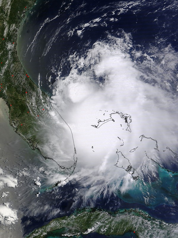 Tropical Storm Arthur is pictured off the east coast of Florida in this July 1, 2014 NASA handout satellite photo.