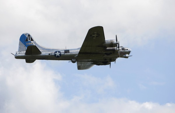 The Sentimental Journey, a fully restored B-17 Flying Fortress, makes its way to land at the Hancock County-Bar Harbor Airport Tuesday in Bar Harbor.