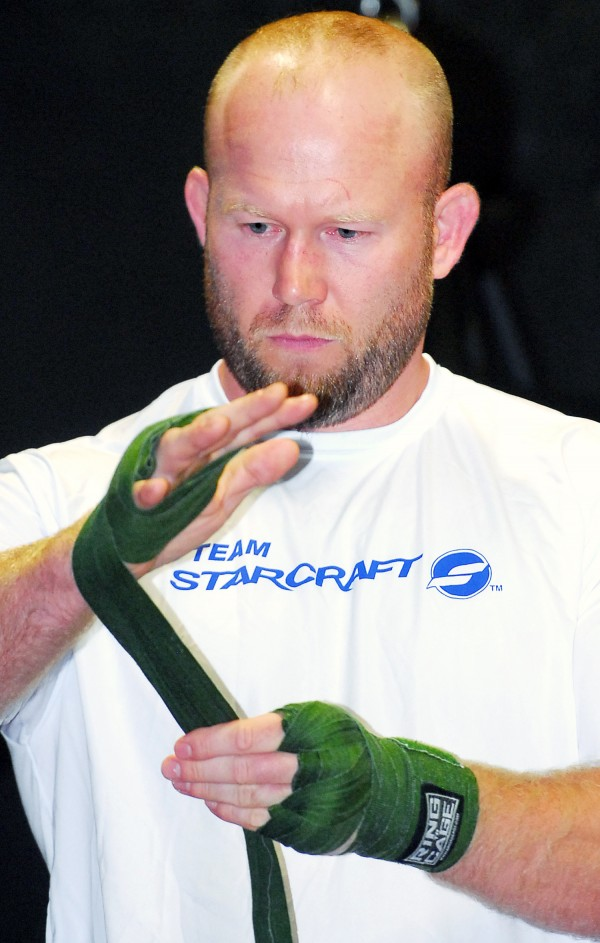 Tim Boetsch prepares to train Saturday at the Team Irish Gym in Brewer for his upcoming UFC fight in August at the Cross Insurance Center in Bangor.