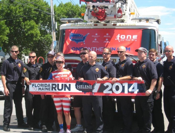 Helene Neville, a nurse from Las Vegas, who is beating cancer, ran from Florida to Maine this month to honor those who have passed and promote a healthy lifestyle. She was greeted by the Portland Fire Department on Sunday.