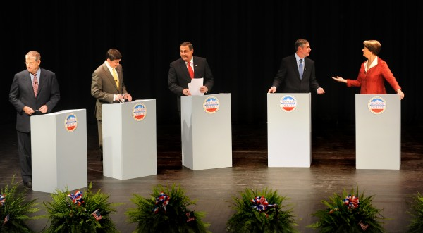 Maine's 2010 gubernatorial candidates debate at Bangor High School. From left, independent Eliot Cutler, independent Kevin Scott, Republican Paul LePage, independent Shawn Moody and Democrat Libby Mitchell.