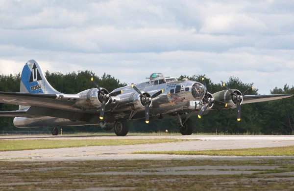 The Sentimental Journey, a fully restored B-17 Flying Fortress, lands at the Hancock County-Bar Harbor Airport Tuesday in Bar Harbor.