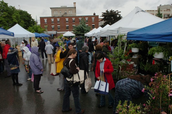 A sizable crowd shops at the Bangor Farmers' Market in this June 2012 file photo.