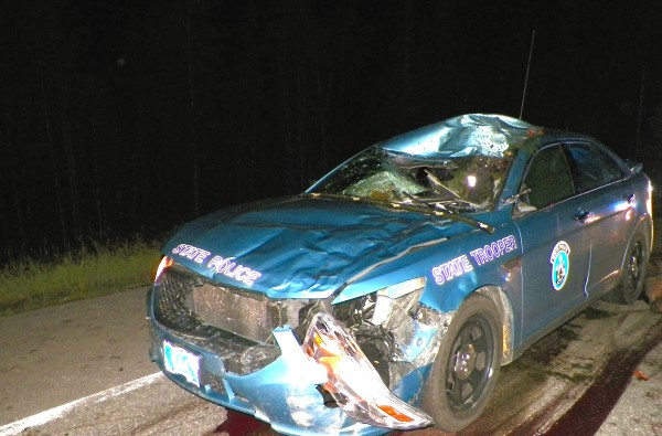 Trooper Dennis Quint sustained head and hand injuries when he hit a moose late Tuesday night as he responded to an earlier moose-vehicle collision in Cyr Plt.