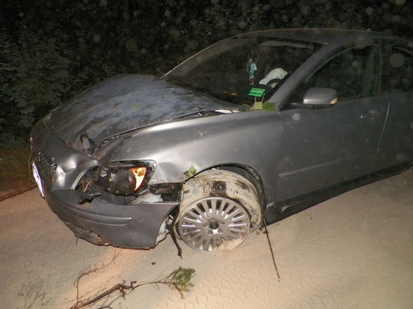 Jacob Lavoie of Caribou was charged on several counts after crashing this 2004 Volvo late Saturday night in Connor.