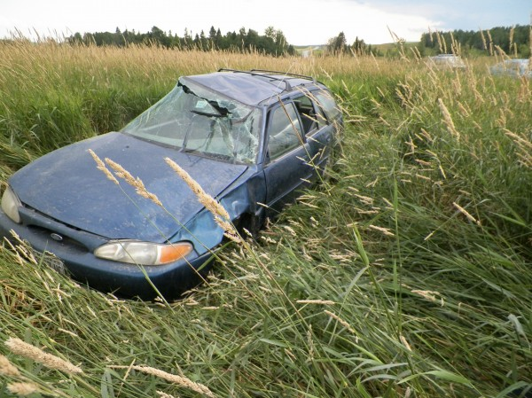 Paul St. Peter of Frenchville suffered minor injuries after rolling his car Saturday evening in St. Agatha.