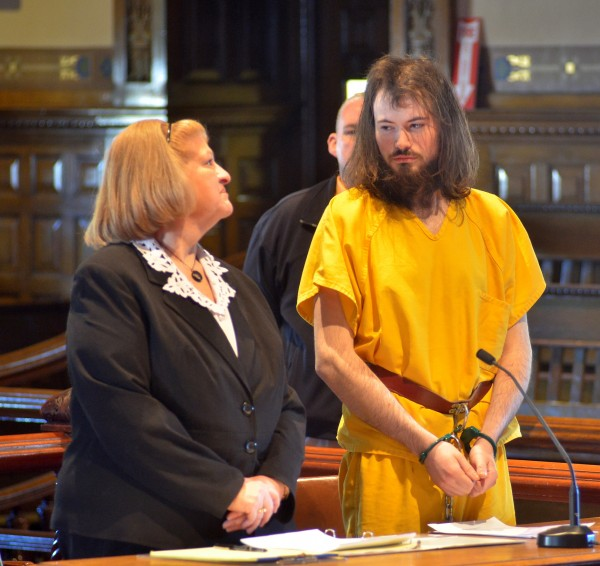 Leroy Herbert Smith III (right) stands in Kennebec County Superior Court where he appeared on a murder charge in this May 2014 file photo.