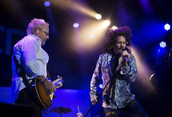 Foreigner's Mick Jones (left) and Kelly Hansen perform during the Styx, Foreigner and Don Felder show Saturday at the Darling's Waterfront Pavilion in Bangor.
