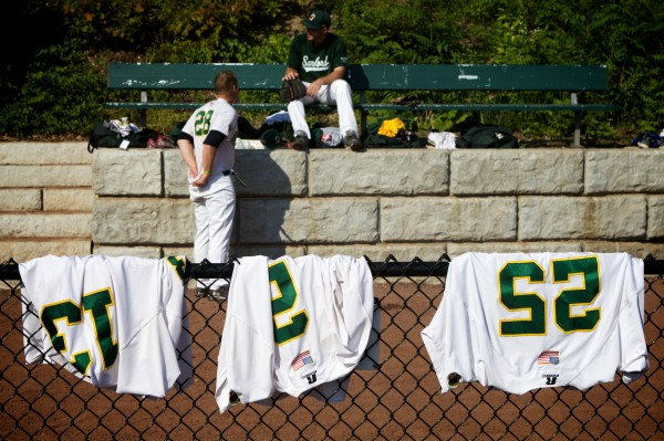 Goodall Park in Sanford has no clubhouses, so Mainers must dress in the bullpens before their game against the Valley Blue Sox Monday night.