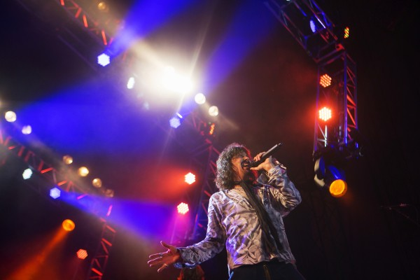 Foreigner's Kelly Hansen sings during the Styx, Foreigner and Don Felder show Saturday at the Darling's Waterfront Pavilion in Bangor.