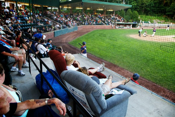 Winners of a nightly contest get to watch the Sanford Mainers game from a pair of recliners at Goodall Park Monday night.